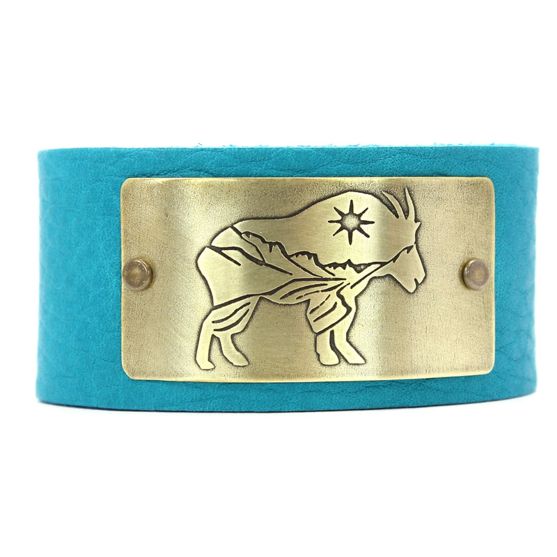 Mountain Goat in Glacier Park Leather Cuff, Creek Water / Antique Brass / Women's, Daphne Lorna