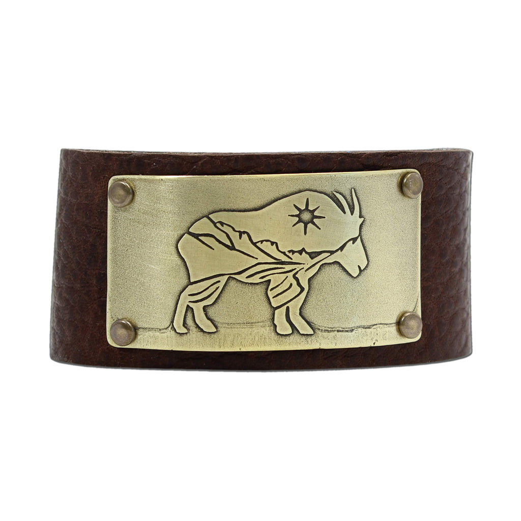 Mountain Goat in Glacier Park Leather Cuff, Espresso / Matte Silver / Women's, daphne lorna