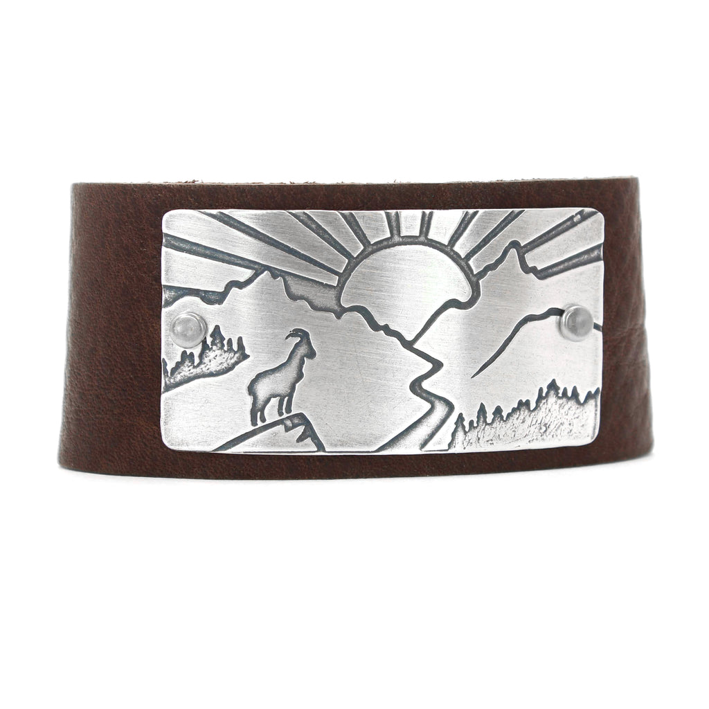 Going to the Sun Road Leather Cuff, Espresso / Matte Silver / Women's, daphne lorna