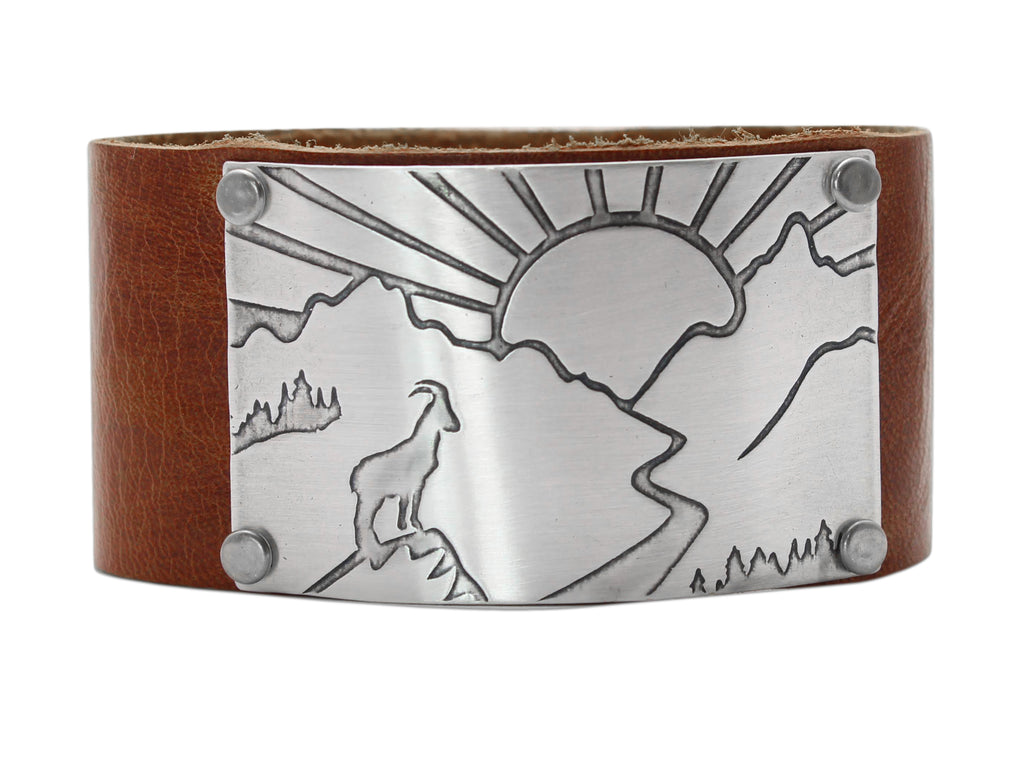 Going to the Sun Road Leather Cuff, Whiskey / Matte Silver / Women's, Daphne Lorna