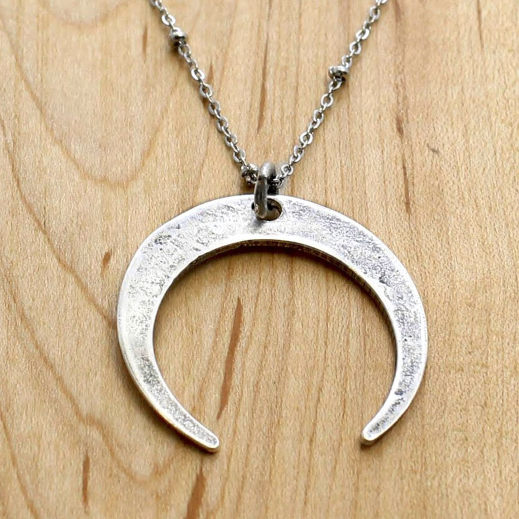 Moon Long Layered Necklace, Matte Silver, Daphne Lorna