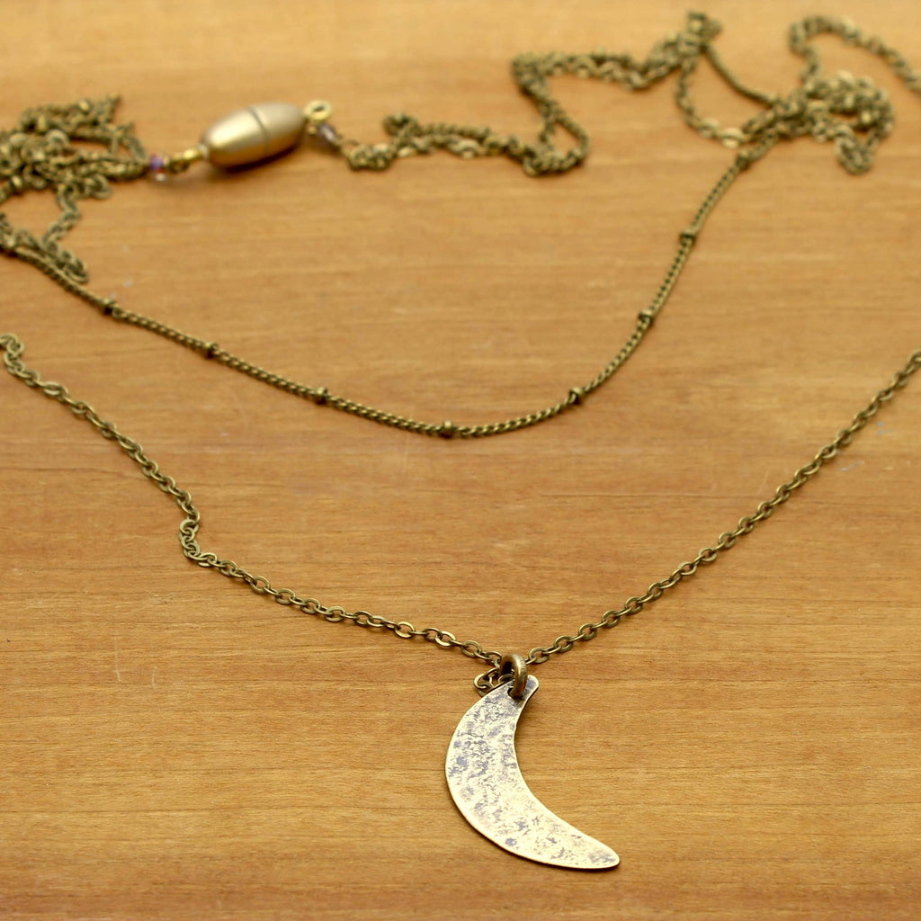 Crescent Long Layered Necklace, Antique Brass, Daphne Lorna