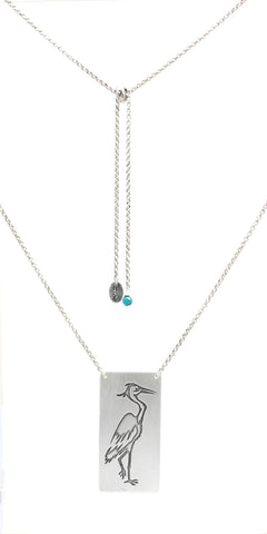 Blue Heron Rectangular Long Layered Necklace