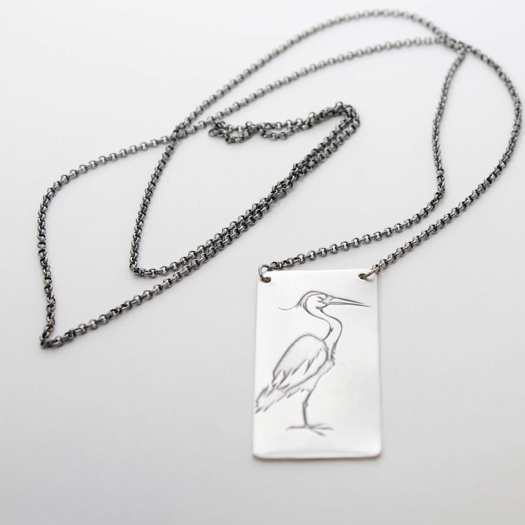 Blue Heron Rectangular Long Layered Necklace, [variant_title], Daphne Lorna