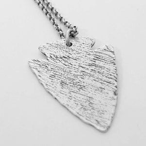 Arrowhead Long Layered Necklace, Matte Silver, daphne lorna
