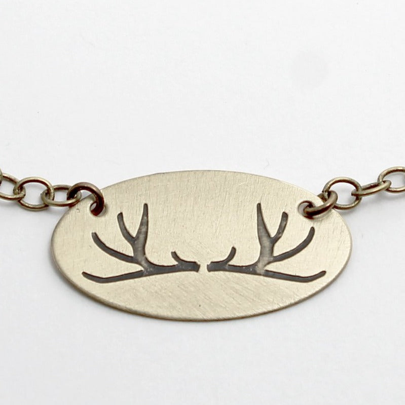 Antlers Necklace, Antique Brass / Chain, daphne lorna