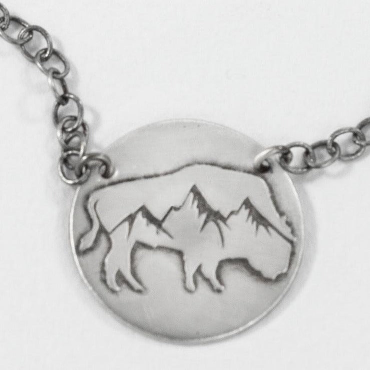 Alpine Buffalo on Disk Necklace, [variant_title], Daphne Lorna