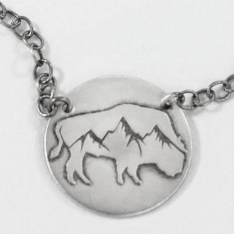 Alpine Buffalo on Disk Necklace