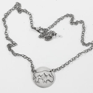 Alpine Buffalo on Disk Necklace, Matte Silver on chain, Daphne Lorna