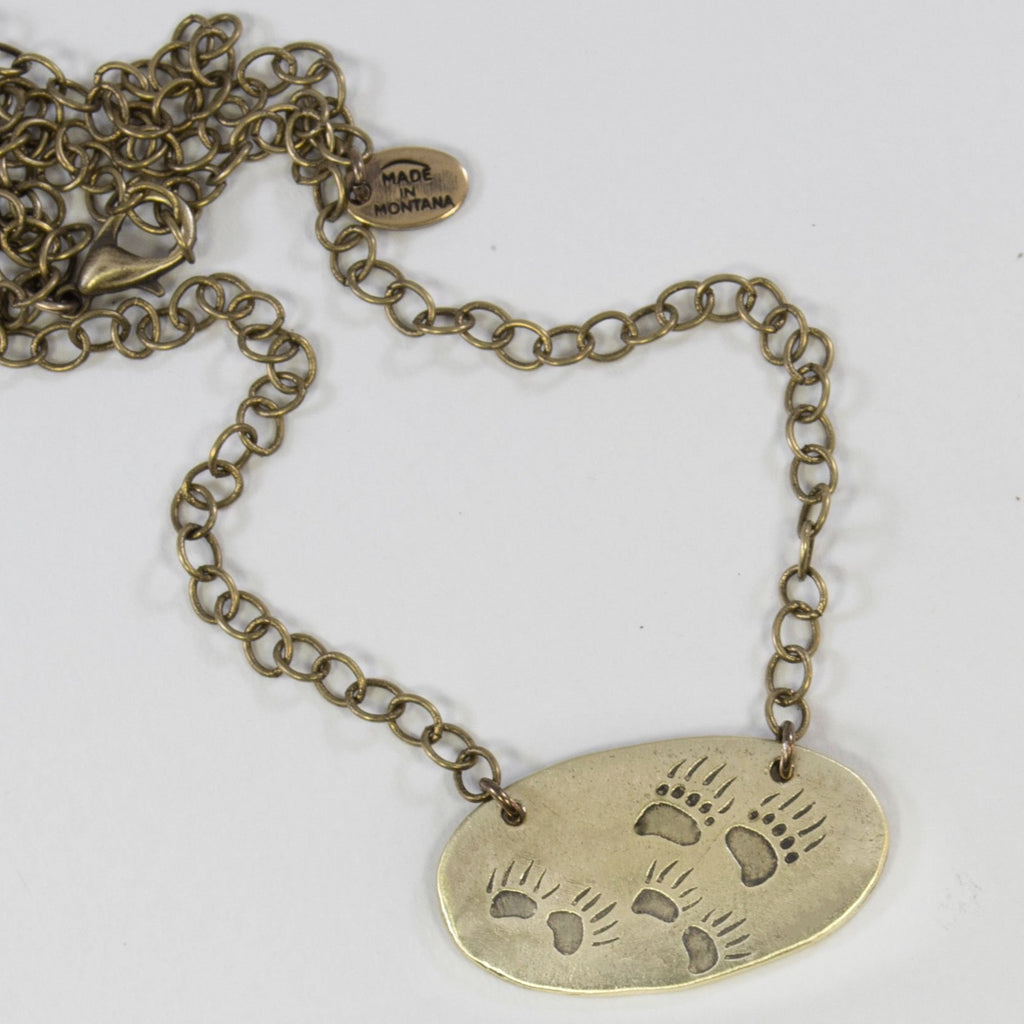Bear Tracks Necklace, Antique Brass, daphne lorna