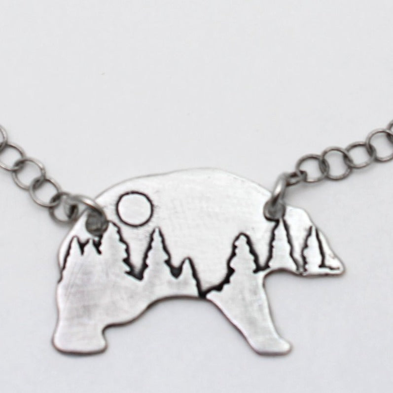 Poya Bear Necklace, Matte Silver / Chain, Daphne Lorna