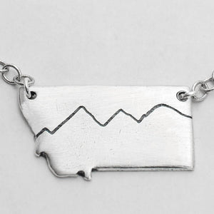 Simple Montana Necklace, Matte Silver / Chain, Daphne Lorna