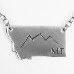 Montana Peaks Necklace, Matte Silver / Chain, Daphne Lorna