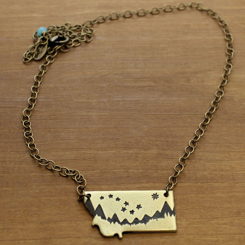 Big Dipper Over Montana Necklace, Antique Brass, daphne lorna