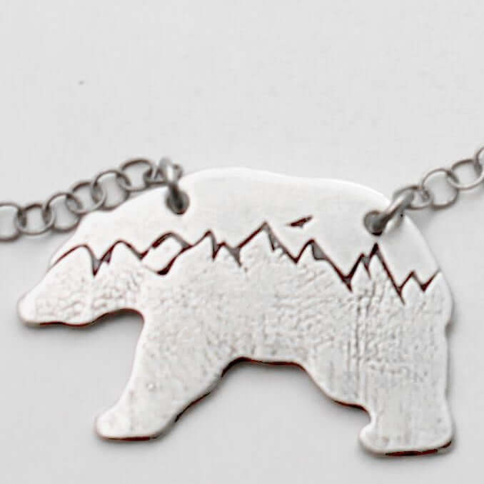 Bears in the Mountains Necklace, Matte Silver / Chain, Daphne Lorna