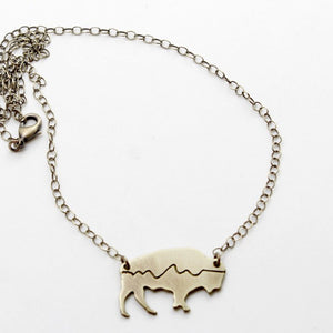 Mountains on Buffalo Necklace, Antique Brass / Cable Chain, daphne lorna