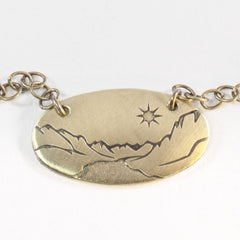 "St. Mary Lake in Glacier Necklace, Antique Brass / Chain -18"", Daphne Lorna"