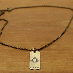"Sol Necklace, Antique Brass / Chain- 18"", Daphne Lorna"