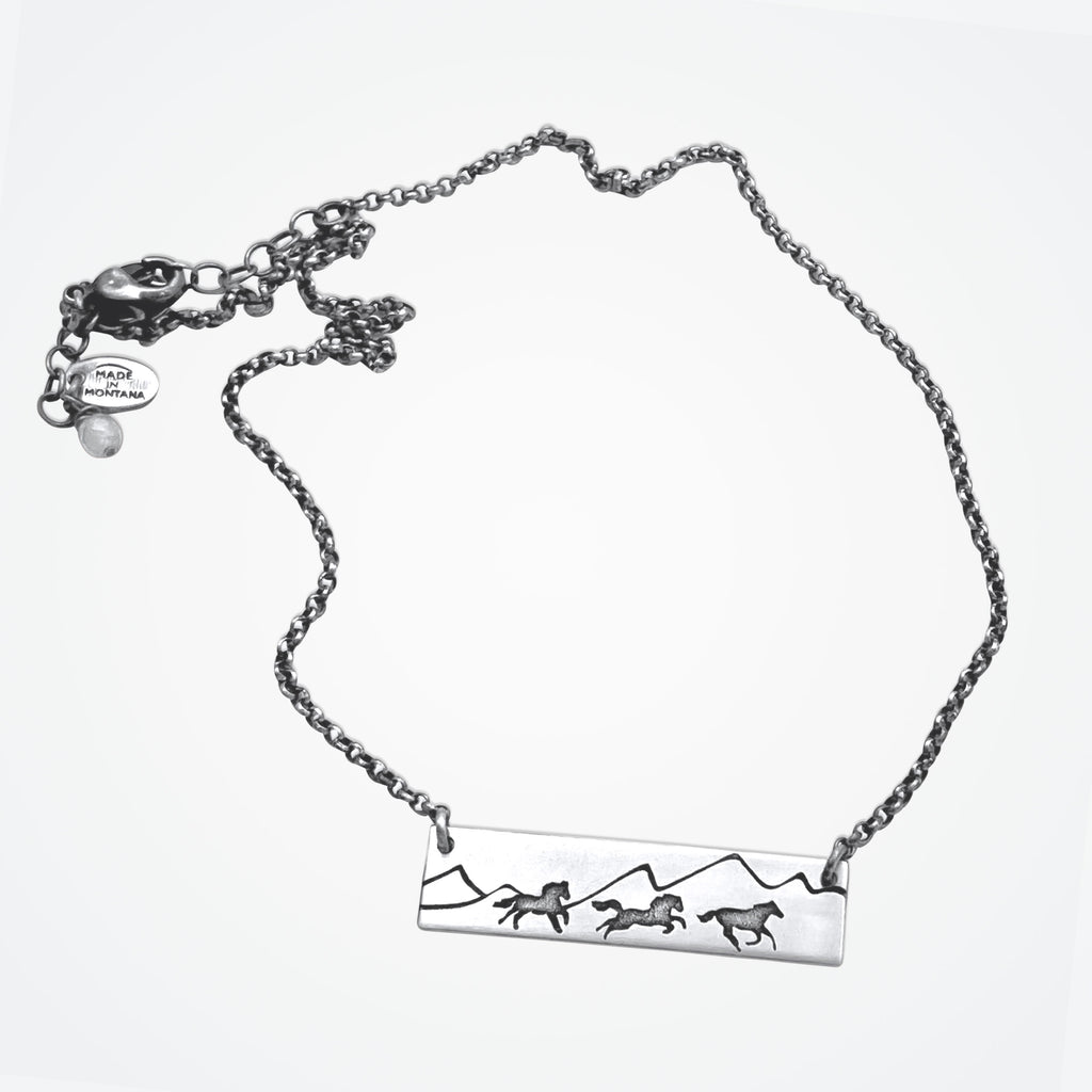 Wild Horses Necklace, Matte Silver / Regular Chain, daphne lorna