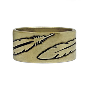 Feather Ring, Antique Brass / 7, daphne lorna