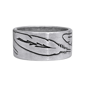 Feather Ring, Matte Silver / 7, daphne lorna