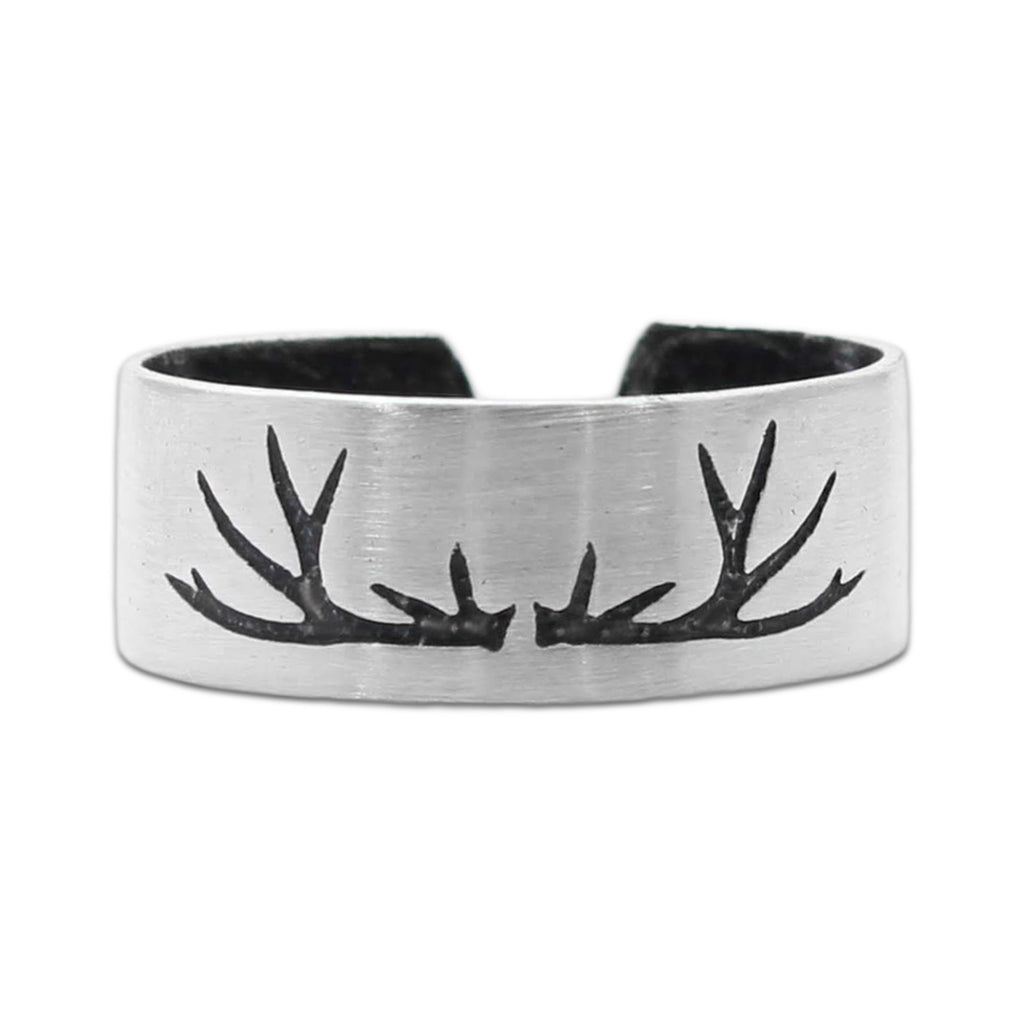 Antlers Adjustable Ring, Matte Silver, daphne lorna