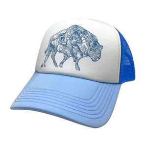 Grand Trucker Hat, Sky Blue and White, daphne lorna
