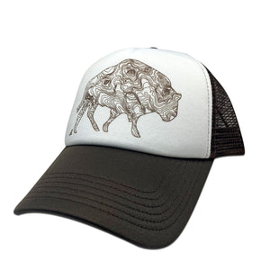Grand Trucker Hat, Brown and White, daphne lorna