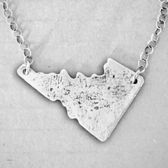 Rustic Idaho Necklace, Matte Silver on chain, Daphne Lorna