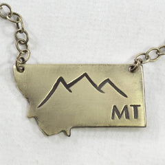 Montana Peaks Necklace, Antique Brass / Chain, Daphne Lorna