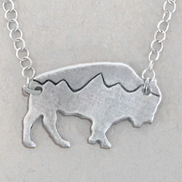Mountains on Buffalo Necklace, Matte Silver / Cable Chain, daphne lorna