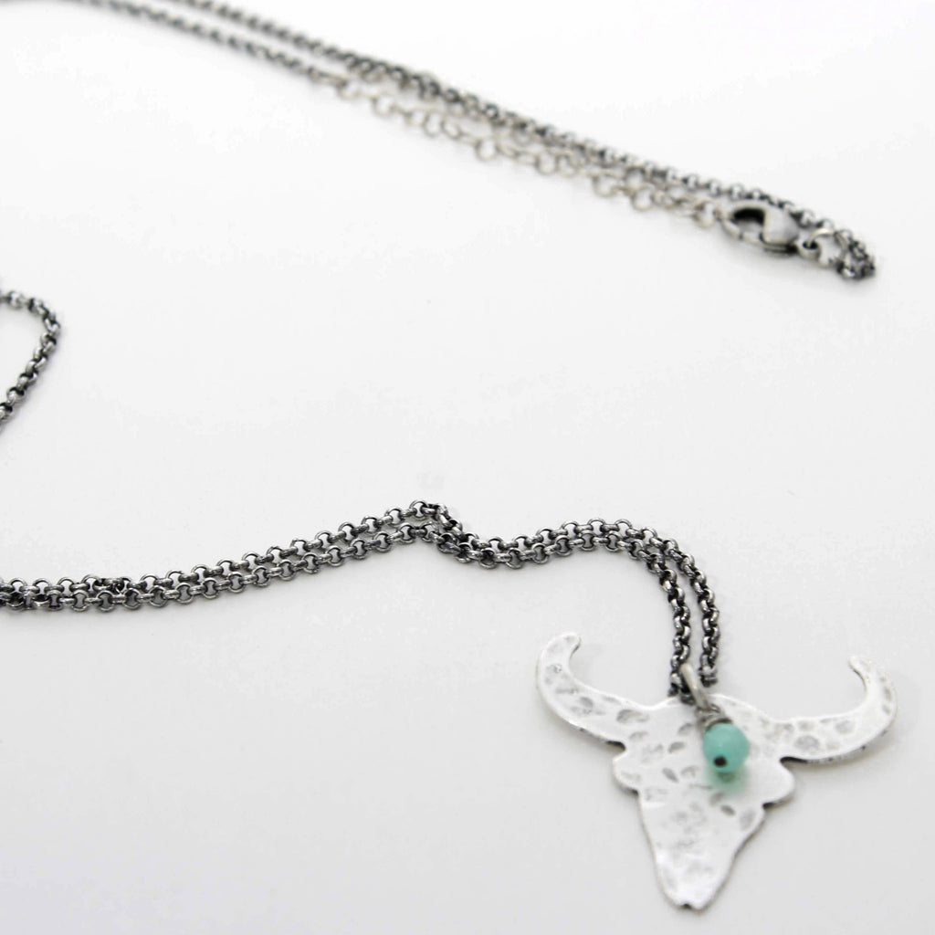 Hanging Skull Long Layered Necklace, Matte Silver, Daphne Lorna