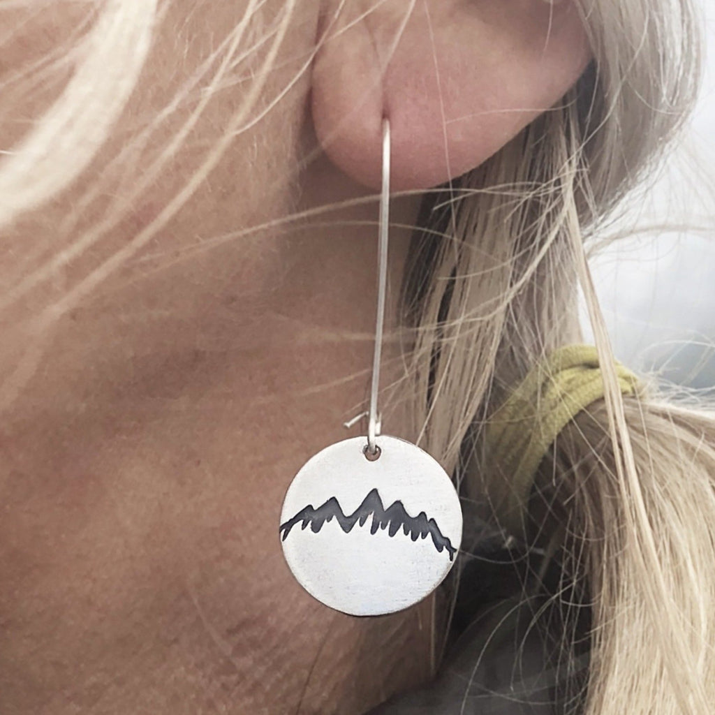 Snowcap Earrings, Matte Silver, Daphne Lorna