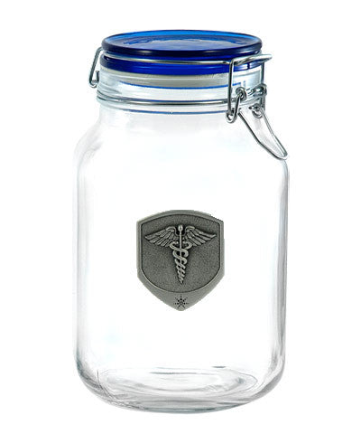Latch Top Jar with Pewter Medical Medallion Emblem