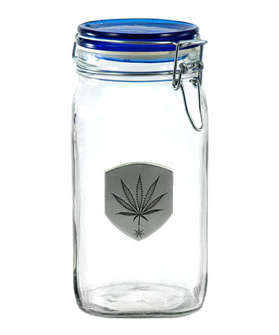 Latch Top Stash Jar with Pewter Marijuana Leaf Medallion