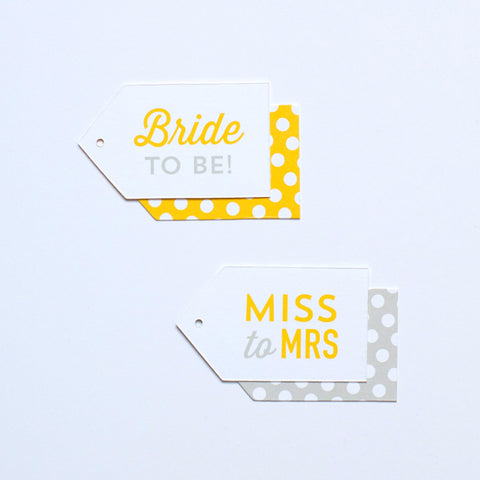 Gift Tag - Bride to Be & Miss to Mrs - Various Colors - Bridal Shower