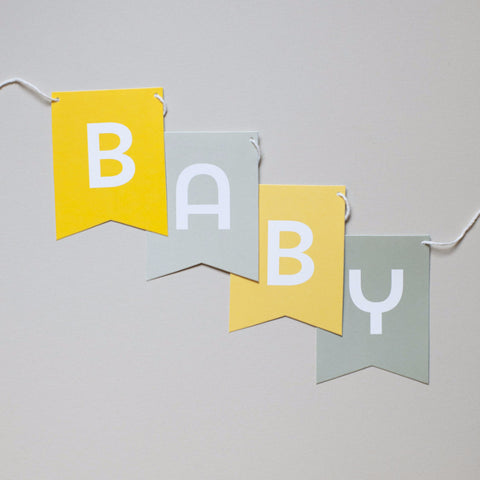 Banner - Yellow & Gray - Baby Shower Messages