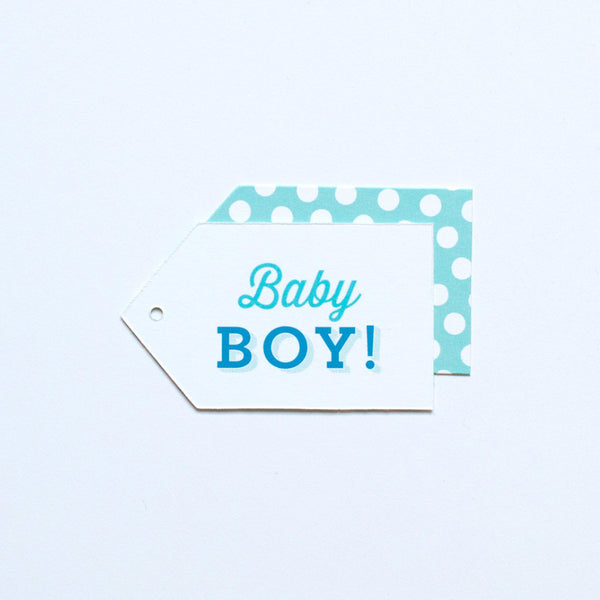 Gift Tag - Baby Boy! - Turquoise, Light Teal, Cornflower, Navy