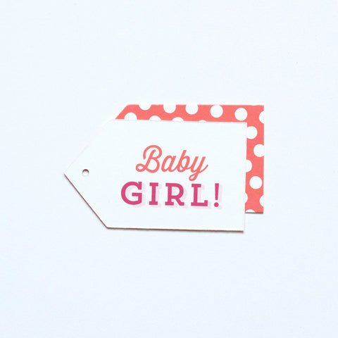 Gift Tag - Baby Girl! - Coral, Fuchsia, Blush, Tan