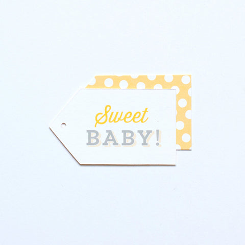 Gift Tag - Sweet Baby! - Yellow & Gray