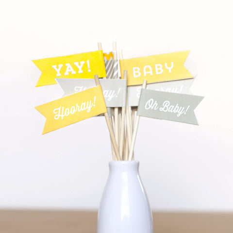 Baby Shower Small Flags - Gender Neutral - Yellow Gray