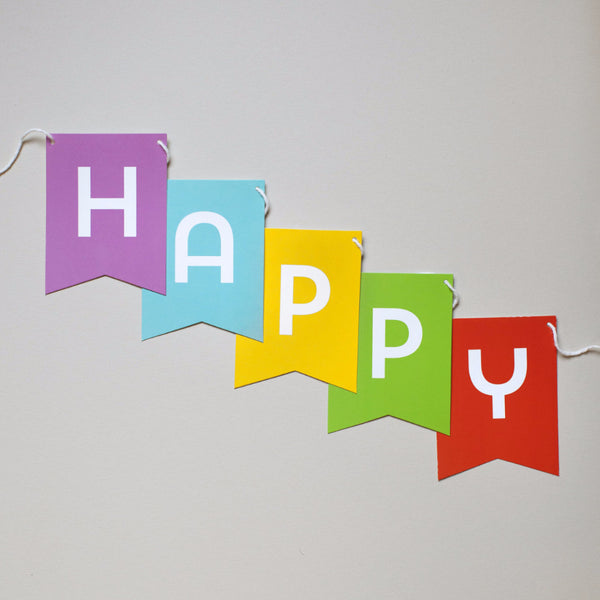 Banner - Rainbow Colors - Yay, Hooray, Oh Happy Day, Happy Birthday or Custom Message