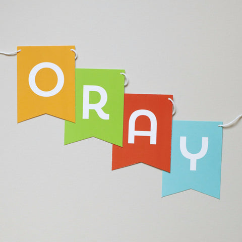 Banner - Primary Colors - Yay, Hooray, Oh Happy Day, Happy Birthday or Custom Message
