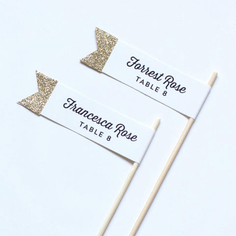 Glitter Custom Message Small Flags - Wedding Collection - Escort Flags