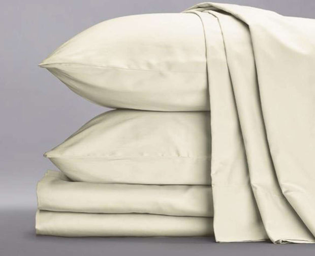 Cotton Sateen Sheets in Ivory-Sage Sleep