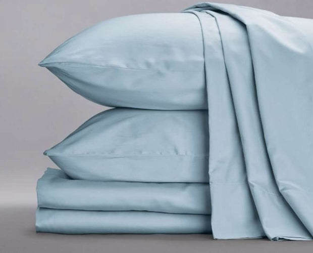 Cotton Sateen Sheets in Sky Blue-Sage Sleep
