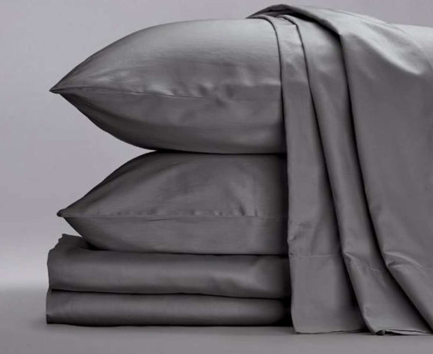 Cotton Sateen Sheets in Steele Gray-Sage Sleep