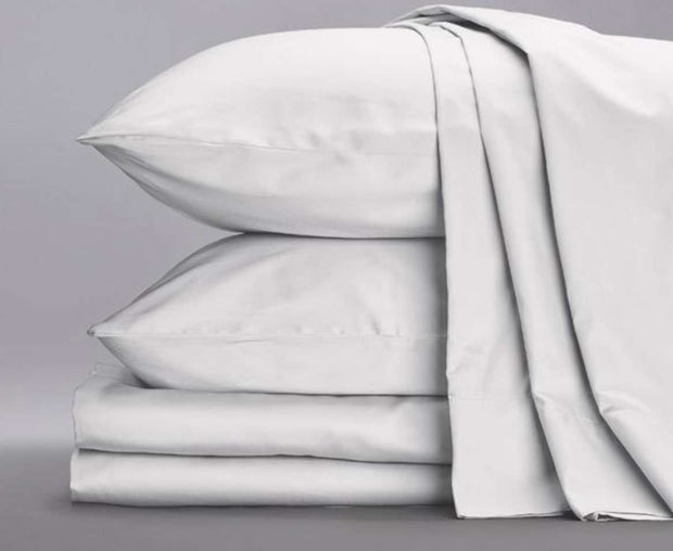 Cotton Sateen Sheets in White-Sage Sleep
