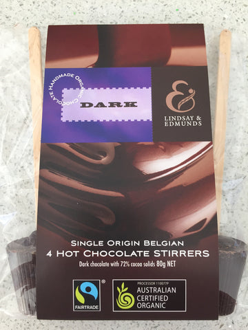 Lindsay & Edmunds Dark Hot Chocolate Stirrers 4-pack - Organic Fairtrade chocolate