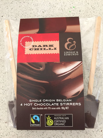 Lindsay & Edmunds Dark or Milk Chilli Hot Chocolate Stirrers 4-pack - Organic Fairtrade chocolate